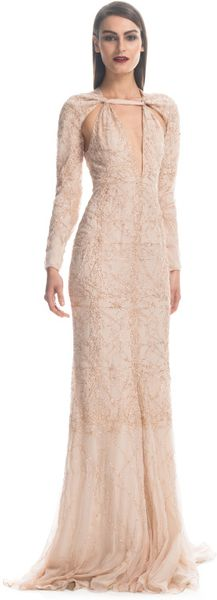 Bibhu Mohapatra Embroidered Filigree Gown in Beige (champagne) - Lyst