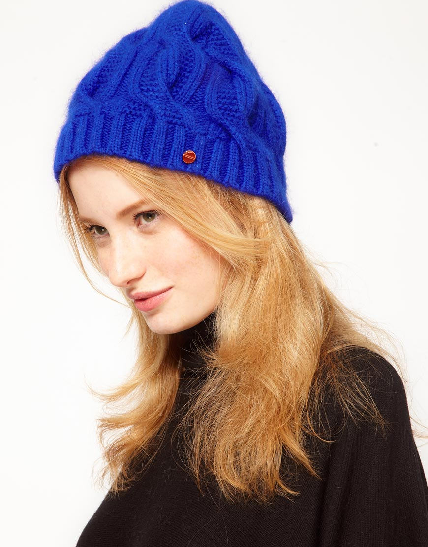 Lyst - Ted Baker Purl Cable Knit Beanie Hat in Blue 57ecc8d1109a