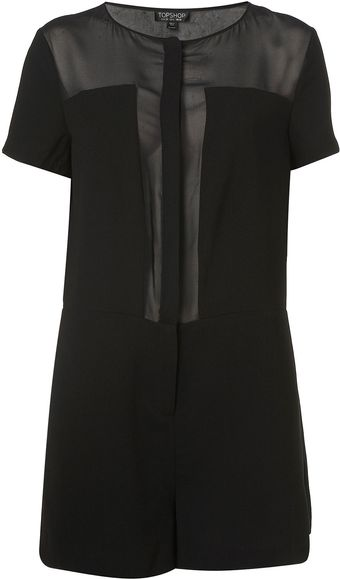 Topshop Sheer Panel Playsuit - Lyst