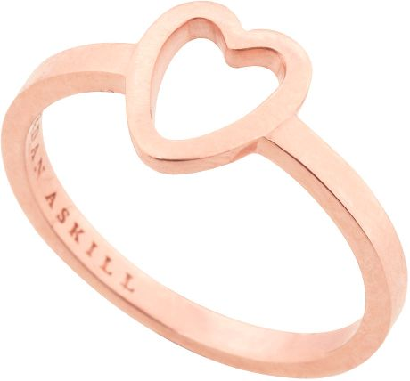 Topshop Heart Ring  in Pink (rose gold) - Lyst