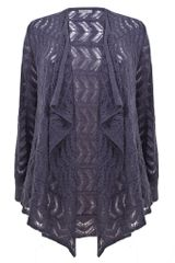 Ann Harvey Purple Pointelle Cardi in Purple - Lyst