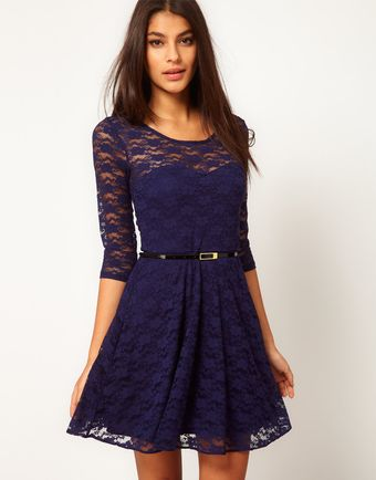 Asos Lace Skater Dress with 34 Sleeves and Belt - Lyst