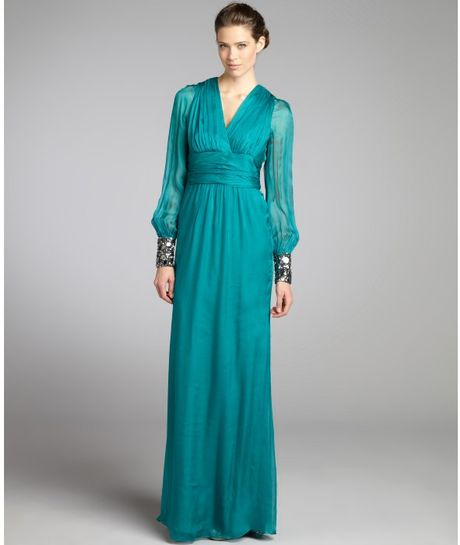 Badgley Mischka Teal Pleated And Beaded Silk Chiffon Sheer