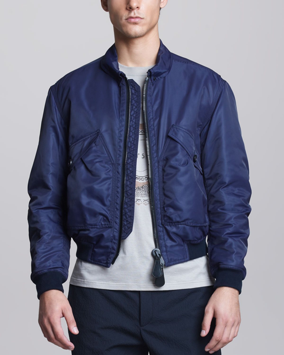 Burberry prorsum Nylon Bomber Jacket in Blue for Men | Lyst