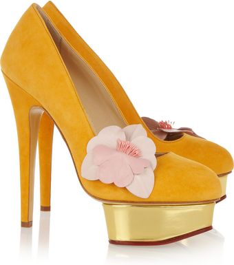Charlotte Olympia The Dolly Suede Platform Pumps - Lyst
