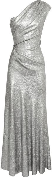 Donna Karan New York One Shoulder Sequined Stretch Mesh Gown in Silver - Lyst