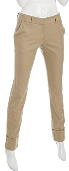 Exclusive For Intermix Camel Wool Cuffs Tapered Pants - Lyst