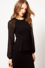 Karen Millen Knitted Jumper with Sheer Sleeves - Lyst