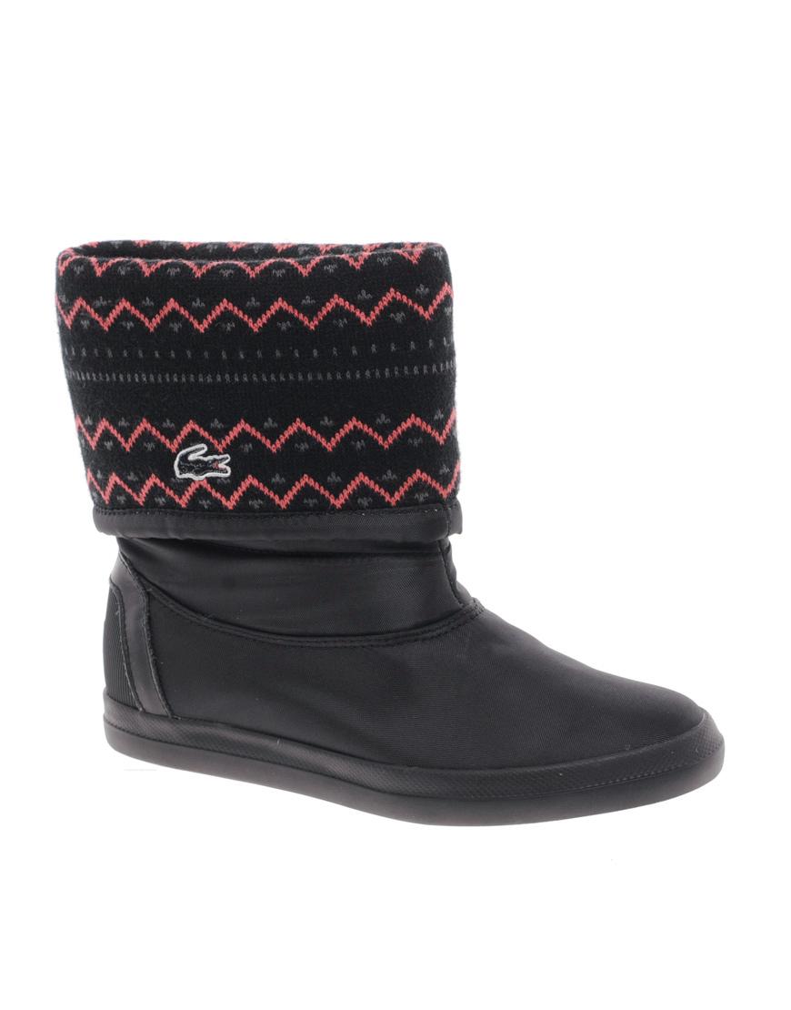 lacoste zerubia 6 knit cuff boots in black lyst