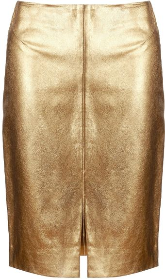 L'Agence Gold Leather Pencil Skirt - Lyst