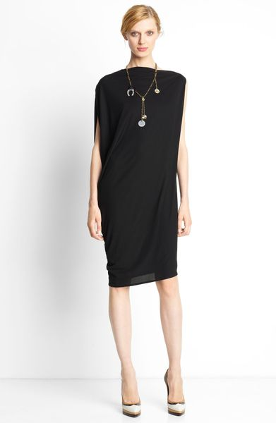 Lanvin Draped Back Dress in Black - Lyst
