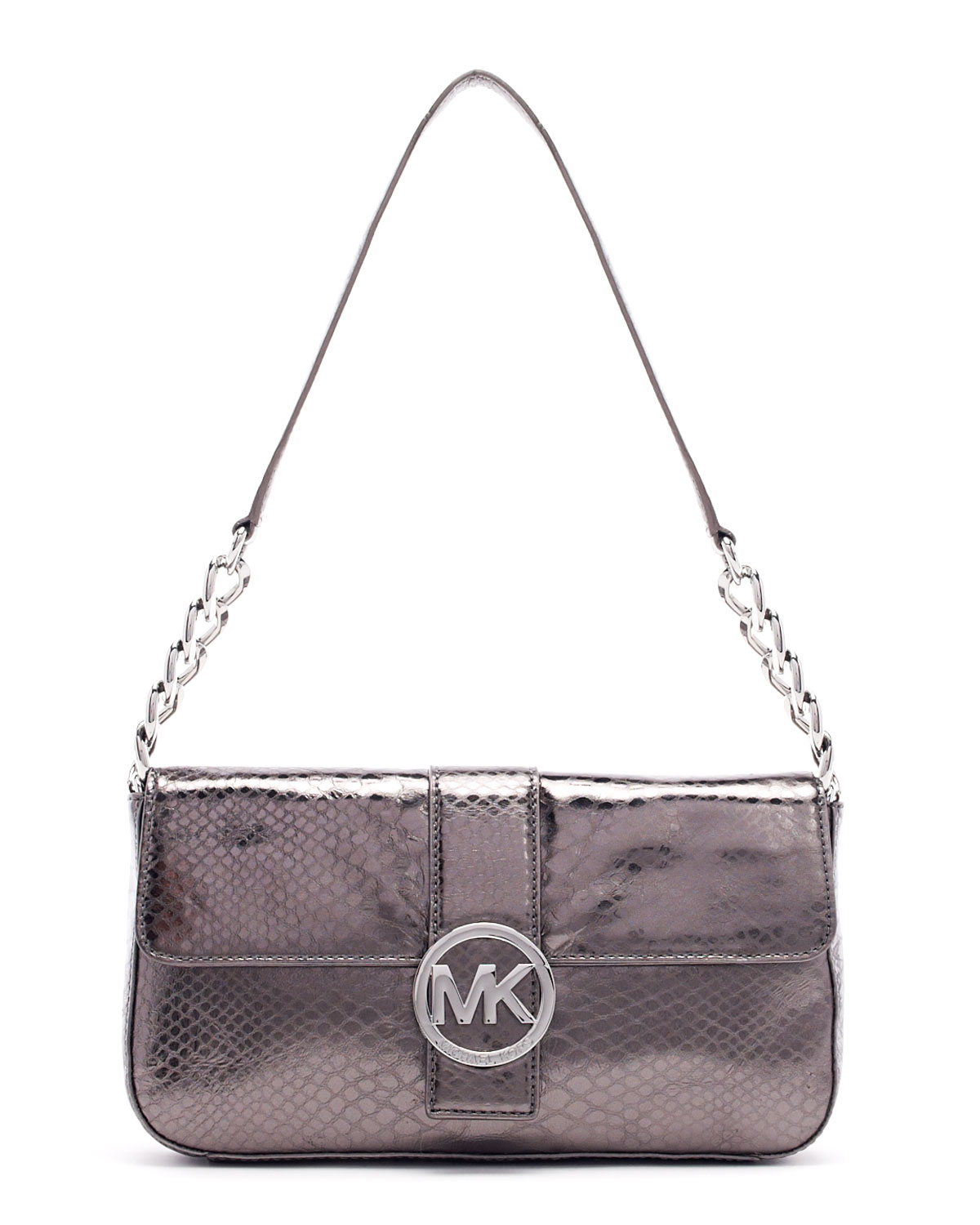 5c4559c5481e Lyst - MICHAEL Michael Kors Small Fulton Pythonembossed Flap Bag in Gray