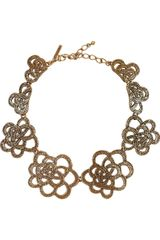 Oscar de la Renta 24karat Goldplated Flower Necklace - Lyst