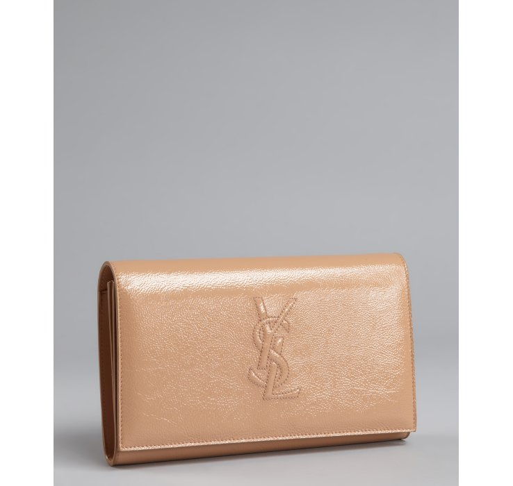 Saint laurent Nude Patent Leather Stitched Logo Convertible Clutch ...