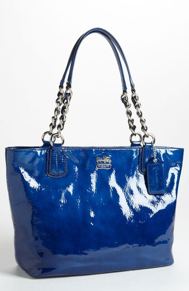 Coach Madison Patent Leather Tote in Blue (ultramarine)