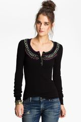 Free People Embroidered Henley - Lyst