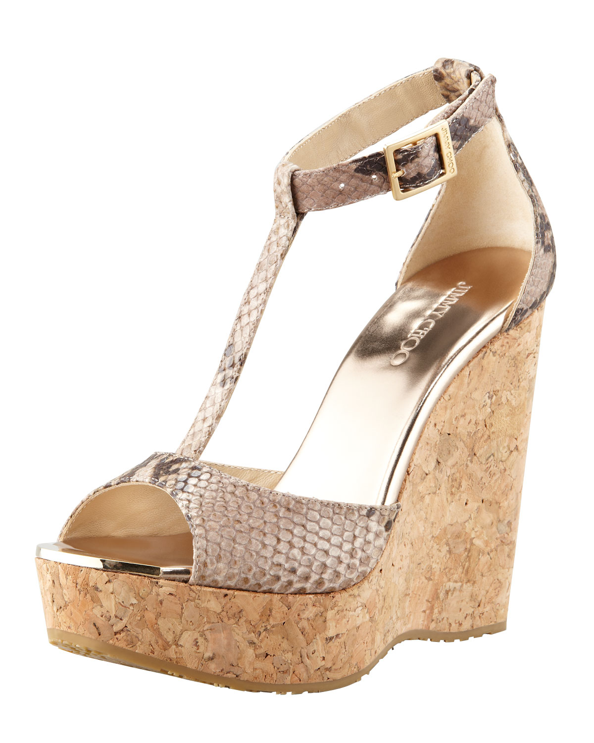 Jimmy Choo Pela Snakeprint Wedge Sandal In Metallic Lyst