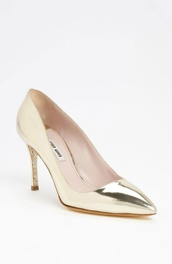 Miu Miu Glitter Sole Pointy Toe Pump - Lyst