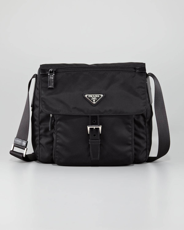 Prada Vela Flap Front Messenger Bag in Black (nero) | Lyst