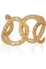 Saint Laurent Goldplated Brass Serpent Cuff - Lyst