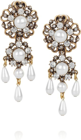 Oscar de la Renta 24karat Gold-Plated and Faux Pearl Clip Earrings - Lyst