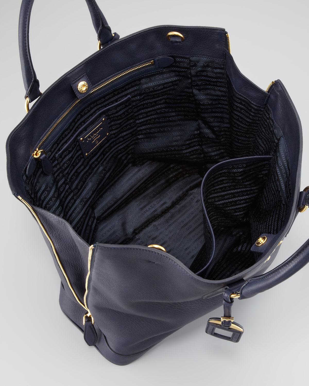 Prada Cervo Snaptop Tote Bag in Black (baltico) | Lyst