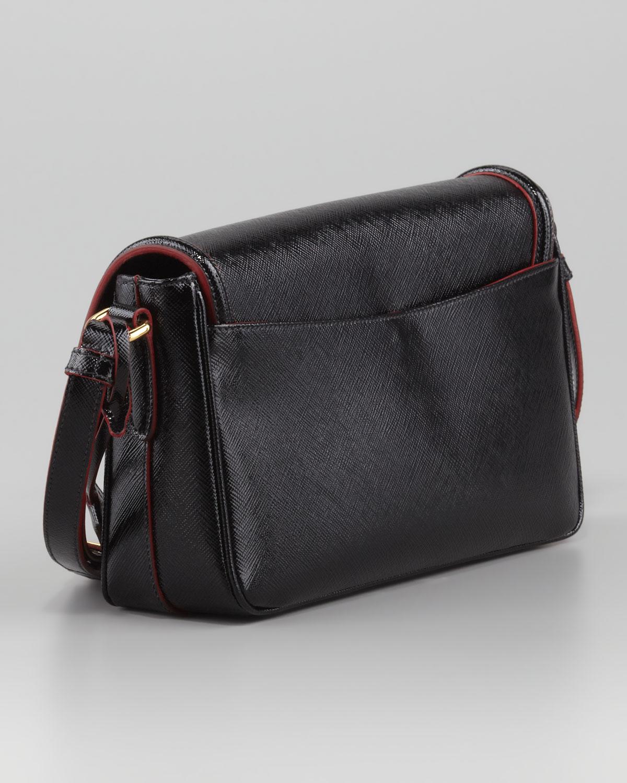 wallet on chain prada - Prada Saffiano Vernice Small Shoulder Bag in Black (nero) | Lyst