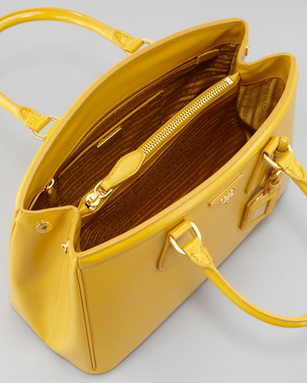 Prada Parabole Vernice Saffiano Tote Bag in Yellow (soleil) | Lyst