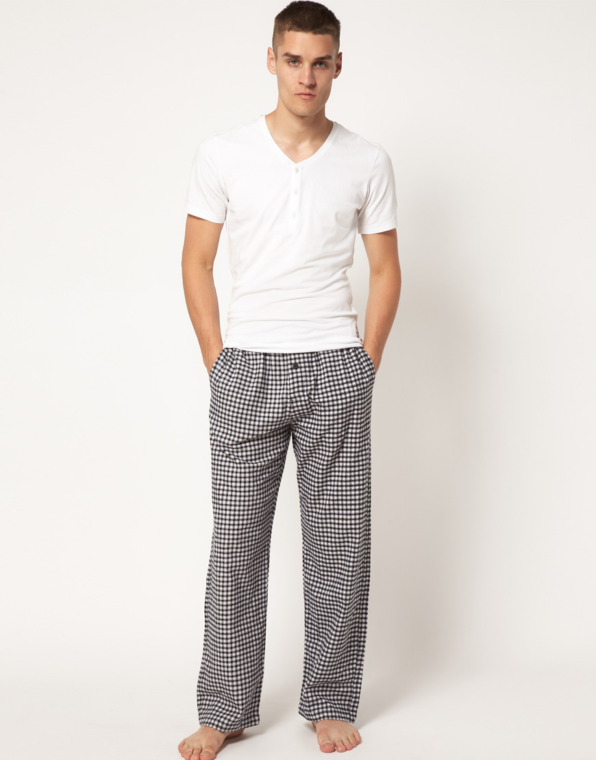 Lyst - Calvin Klein Flannel Check Lounge Pants in Black for Men