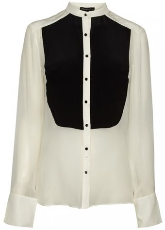 Elizabeth And James Elizabeth and James Colourblock Odin Tux Shirt Ivoryblack - Lyst