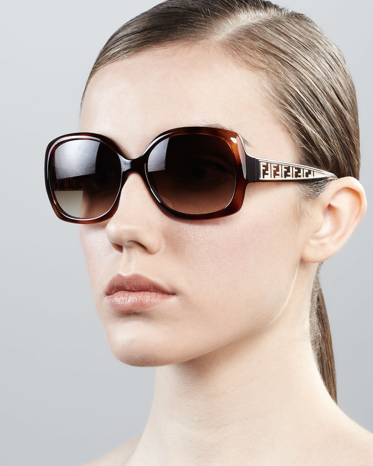 0ab454adb8 Lyst - Fendi Metal Zucca Cateye Sunglasses Havana in Brown