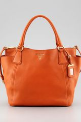 Prada Daino Doublepocket Tote Bag Papaya - Lyst