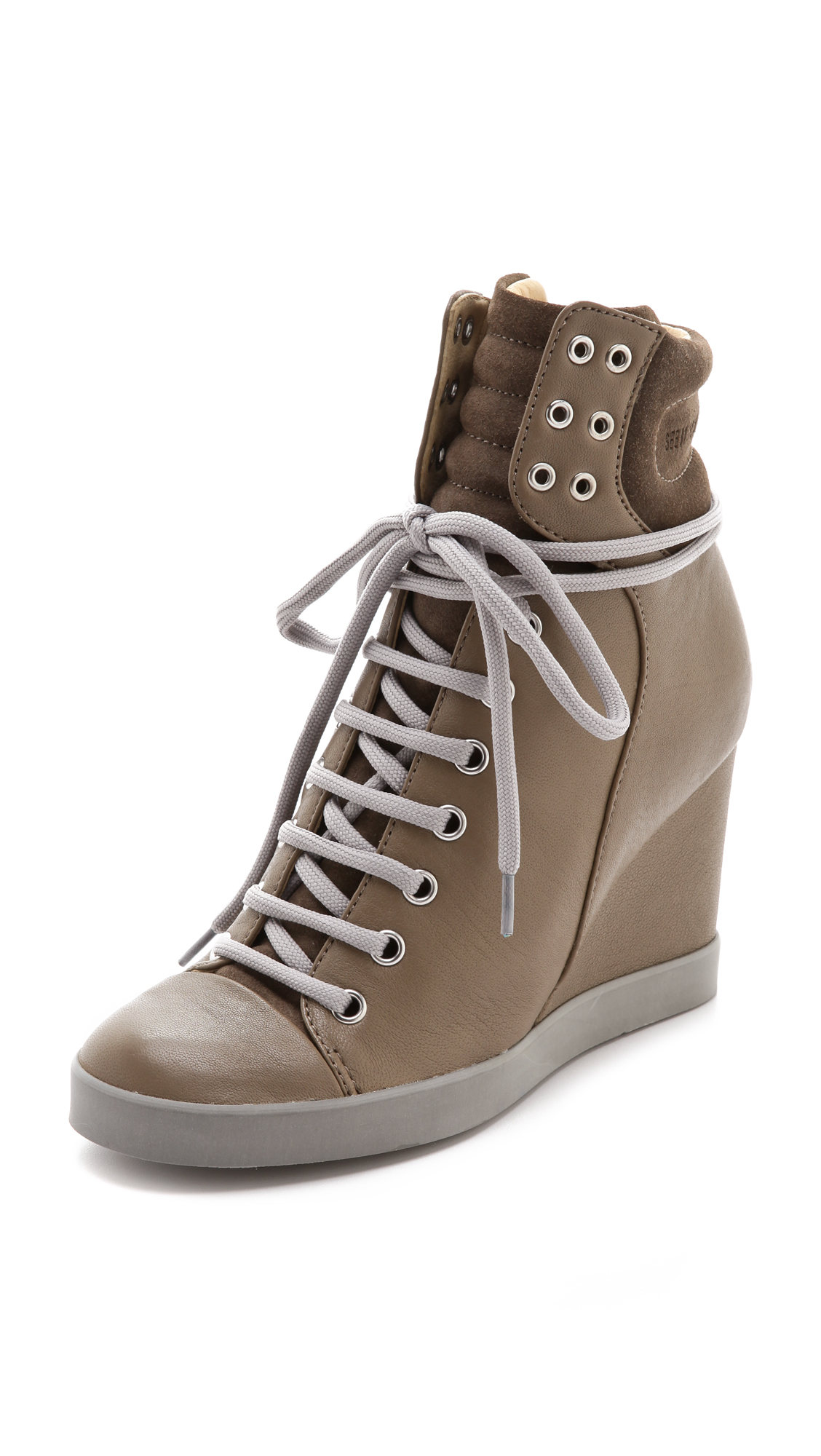 Lyst See By Chlo 233 Lace Up Wedge Sneakers In Brown