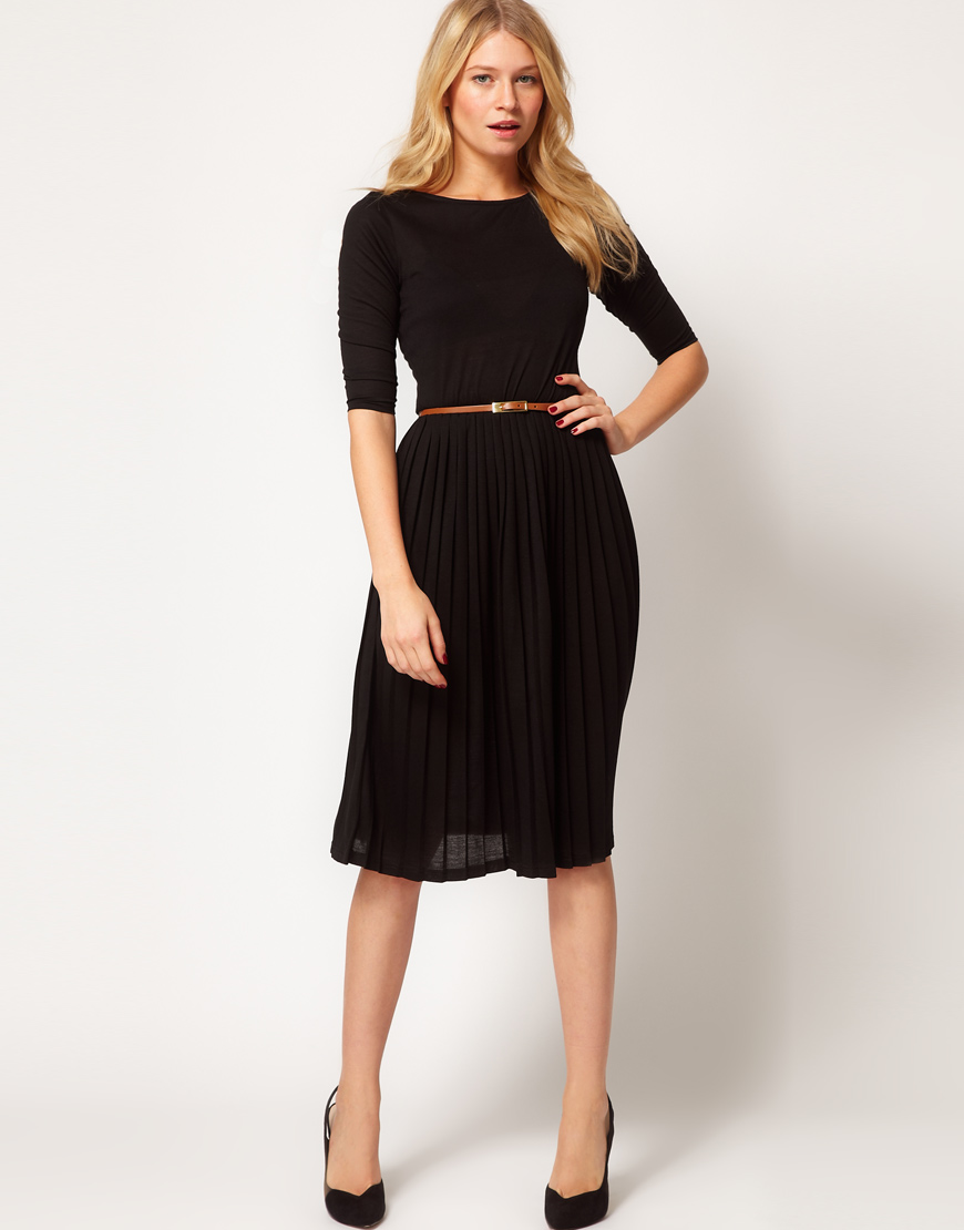 Asos Midi Dress with Pleated Skirt in Black | Lyst