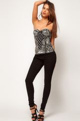 Asos Collection Asos Corset with Pearl Grid Embellishment in Black - Lyst