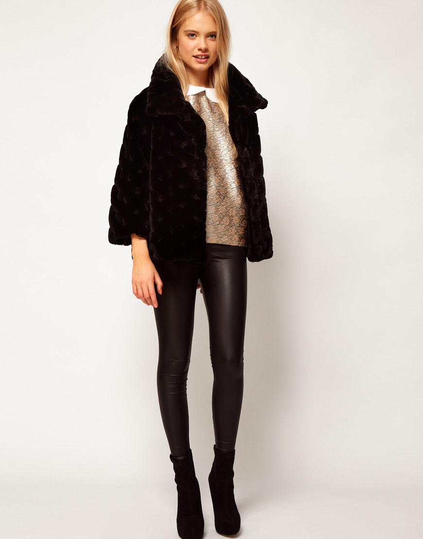 Asos collection Asos Short Fur Swing Coat in Black | Lyst