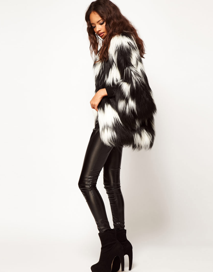 Asos collection Asos Oversized Stripe Fur Coat in Black | Lyst