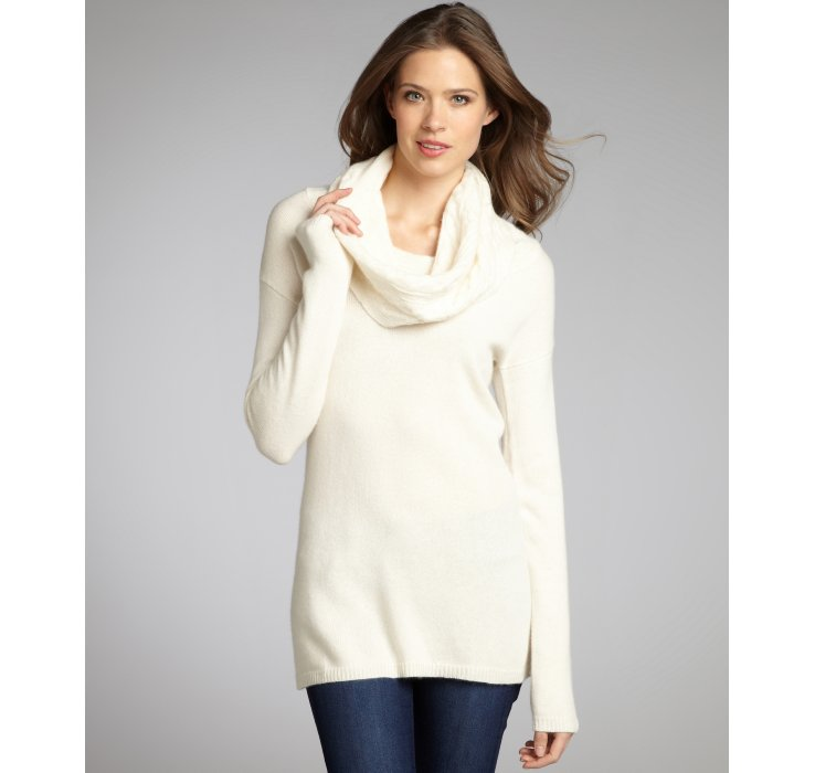 Autumn cashmere Off White Cashmere Cable Knit Cowl Neck Sweater in ...
