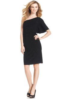 Sleeve Black Dress on Klein Sleeveless Oneshoulder Cocktail Dress In Black  Gold    Lyst