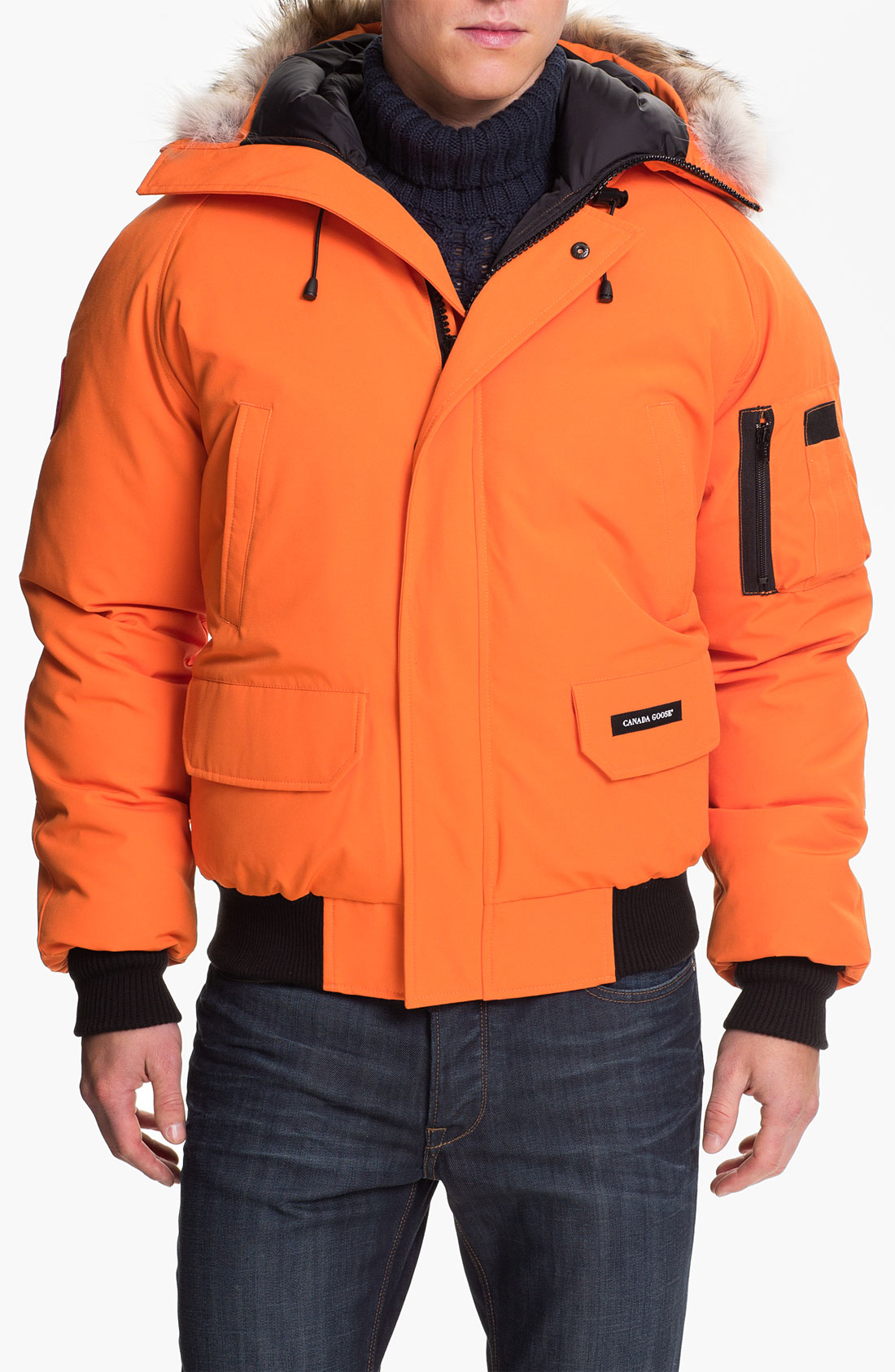 canada goose chilliwack down bomber jacket with genuine coyote trim in orange for men lyst. Black Bedroom Furniture Sets. Home Design Ideas