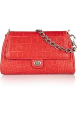 Donna Karan New York Croc Effect Leather Shoulder Bag - Lyst