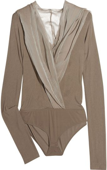 Donna Karan New York Hooded Finejersey and Silkchiffon Bodysuit - Lyst