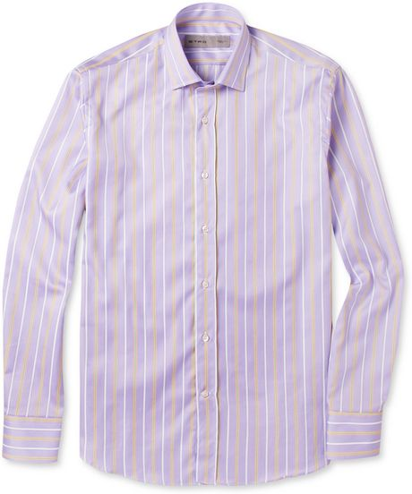 Etro Slimfit Striped Cotton Shirt in White for Men (purple) - Lyst