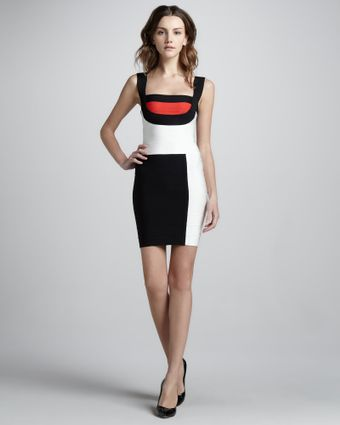 Hervé Léger Mondrian Colorblock Bandage Dress - Lyst