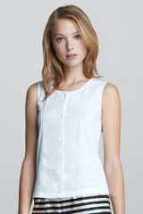 Jil Sander Navy Sleeveless Button Front Top - Lyst