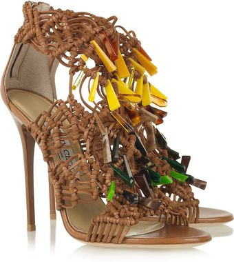 Jimmy Choo Iris Embellished Macramé Leather Sandals - Lyst