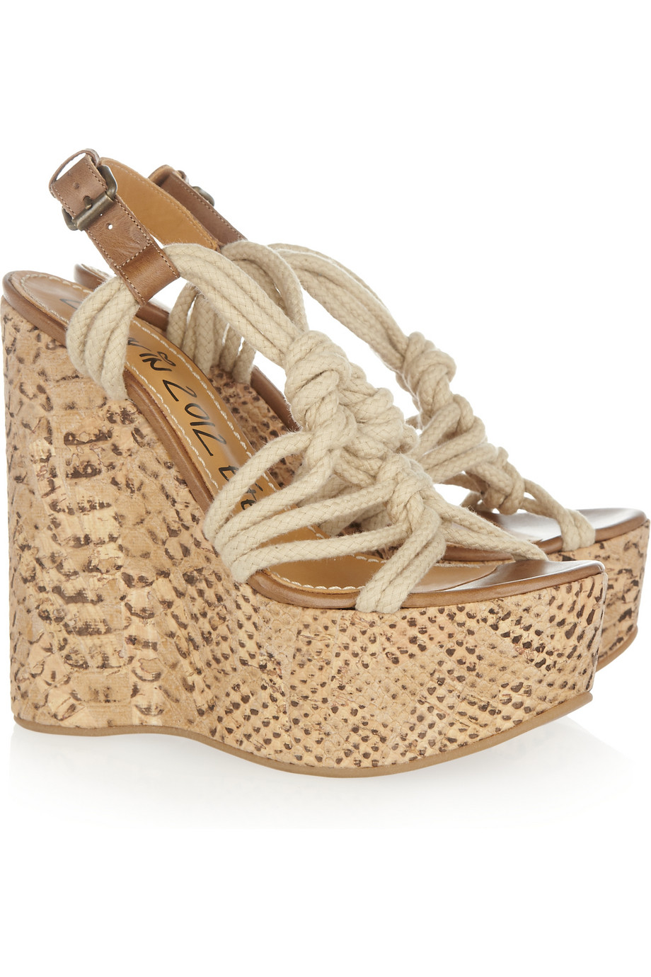 e94741678 Lyst - Lanvin Rope and Snake-print Cork Wedge Sandals