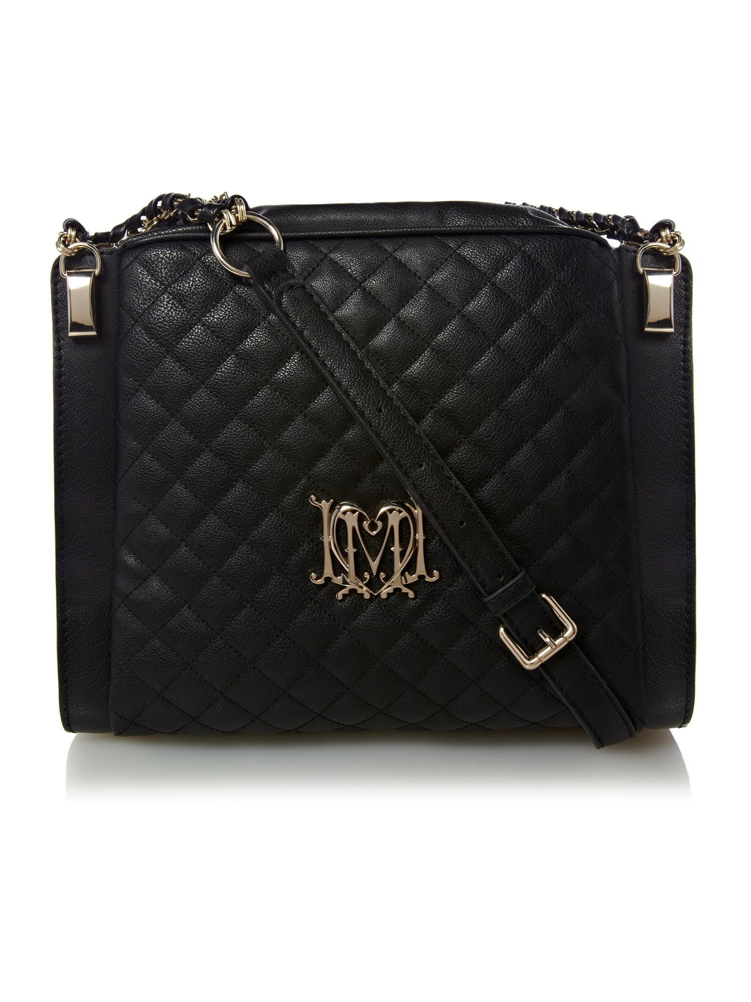 Love Moschino Modern Quilted Large Crossbody Bag In Black