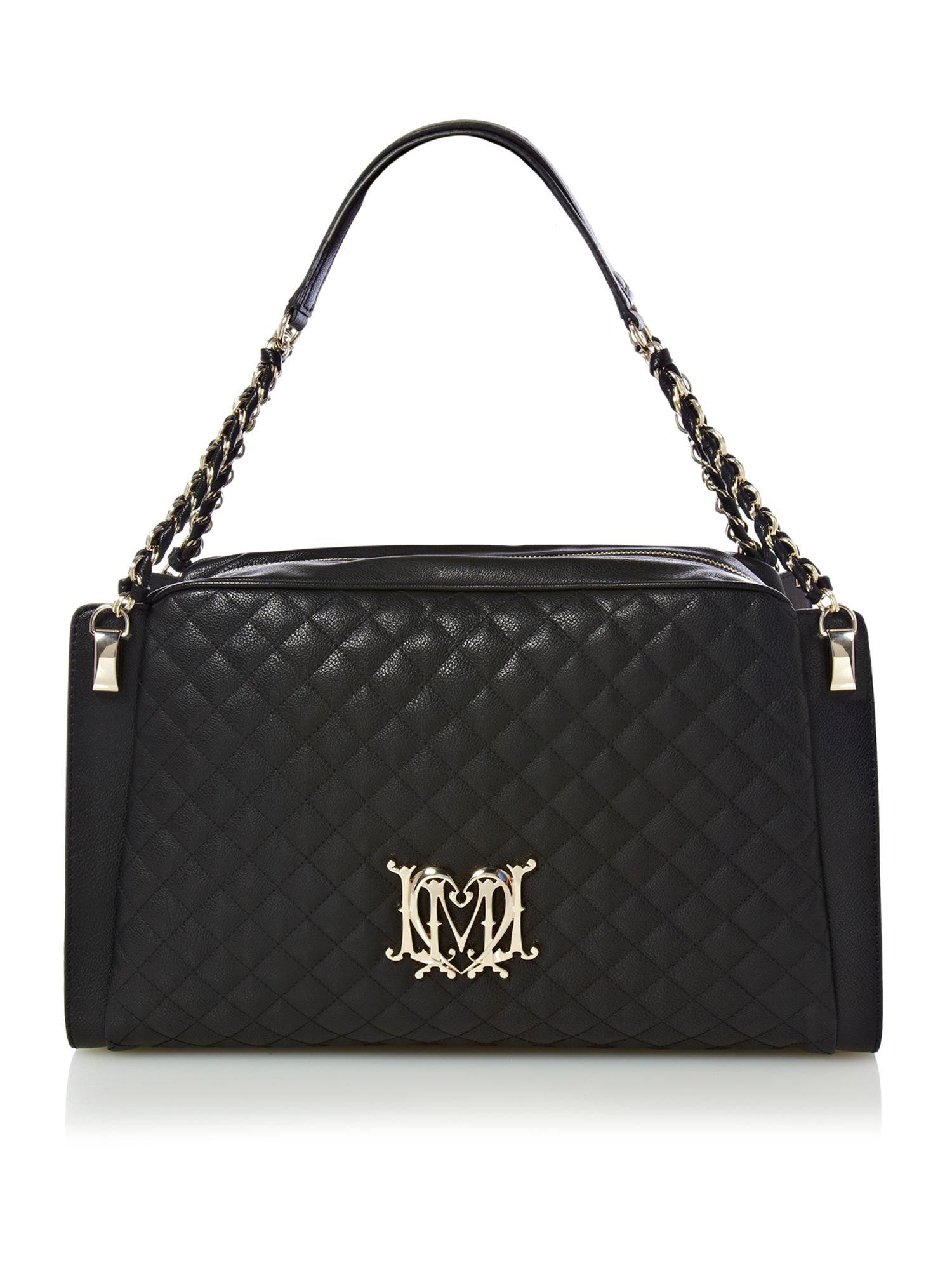 love moschino modern quilted medium bowling bag in black lyst. Black Bedroom Furniture Sets. Home Design Ideas