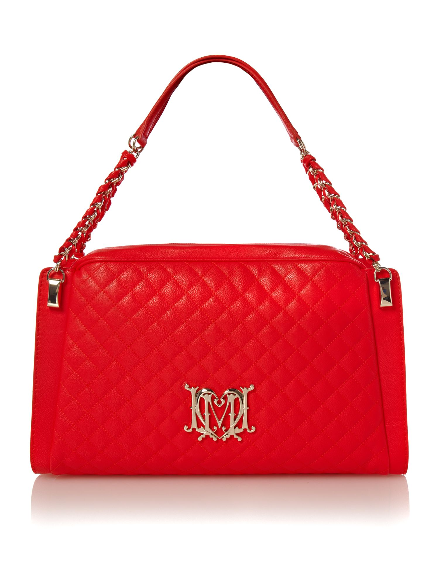 love moschino modern quilted medium bowling bag in red lyst. Black Bedroom Furniture Sets. Home Design Ideas